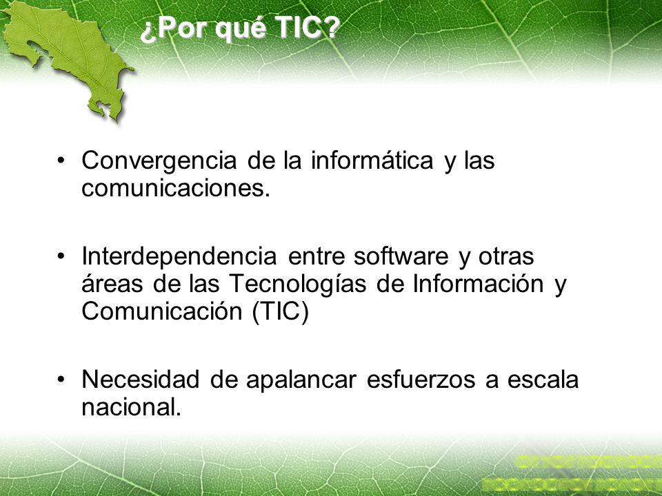 ¿Por qué TIC? Convergencia de la informática y las comunicaciones. Interdependencia entre software y otras áreas de las Tecnologías de Información y C