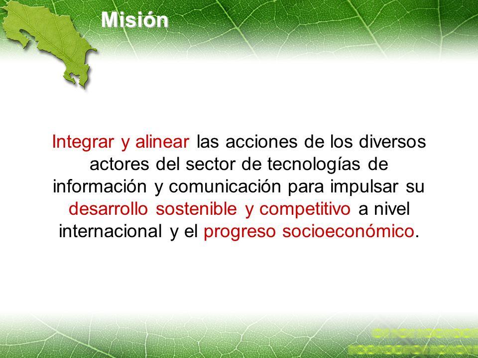 Misión Integrar y alinear las acciones de los diversos actores del sector de tecnologías de información y comunicación para impulsar su desarrollo sos