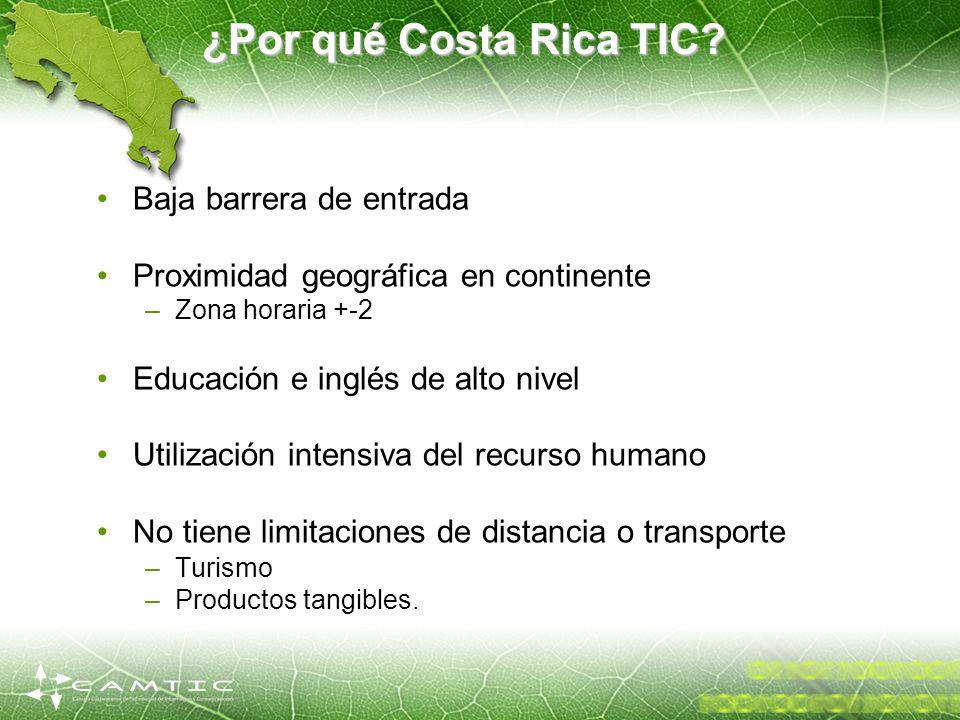 ¿Por qué Costa Rica TIC? Baja barrera de entrada Proximidad geográfica en continente –Zona horaria +-2 Educación e inglés de alto nivel Utilización in
