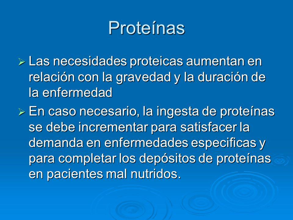 Proteínas Las necesidades proteicas aumentan en relación con la gravedad y la duración de la enfermedad Las necesidades proteicas aumentan en relación
