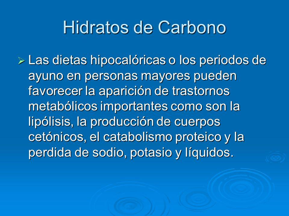 Hidratos de Carbono Las dietas hipocalóricas o los periodos de ayuno en personas mayores pueden favorecer la aparición de trastornos metabólicos impor