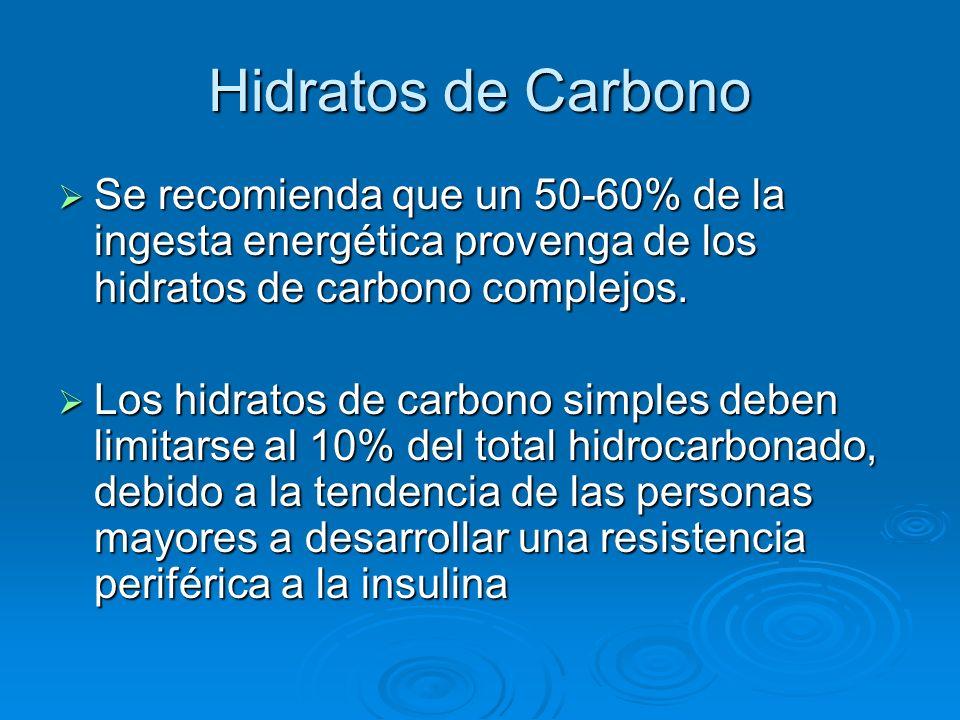 Hidratos de Carbono Se recomienda que un 50-60% de la ingesta energética provenga de los hidratos de carbono complejos. Se recomienda que un 50-60% de
