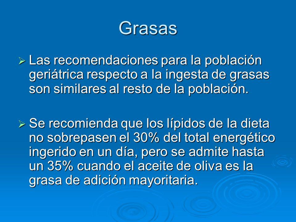 Grasas Las recomendaciones para la población geriátrica respecto a la ingesta de grasas son similares al resto de la población. Las recomendaciones pa