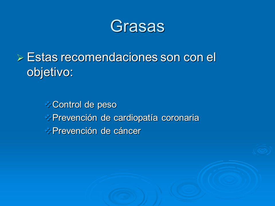 Grasas Estas recomendaciones son con el objetivo: Estas recomendaciones son con el objetivo: Control de peso Control de peso Prevención de cardiopatía