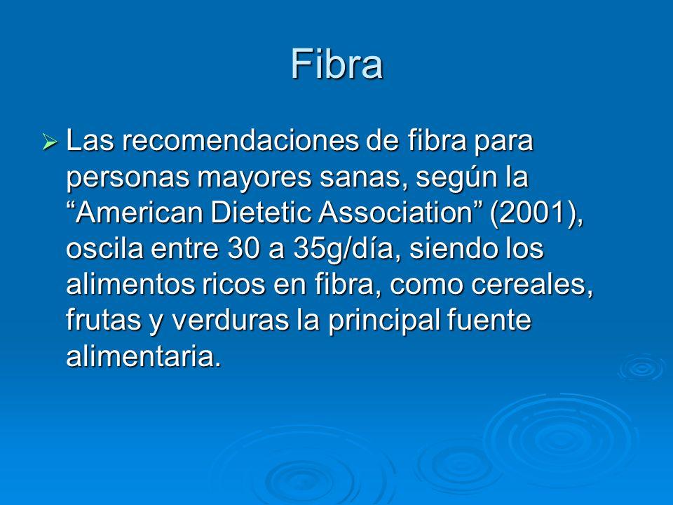 Fibra Las recomendaciones de fibra para personas mayores sanas, según la American Dietetic Association (2001), oscila entre 30 a 35g/día, siendo los a