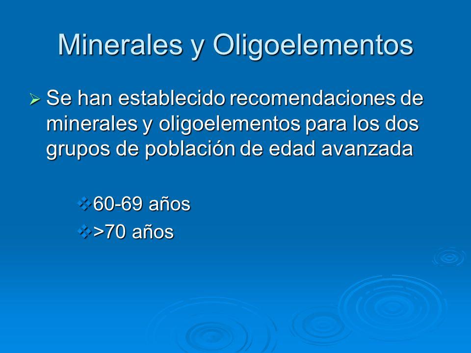 Minerales y Oligoelementos Se han establecido recomendaciones de minerales y oligoelementos para los dos grupos de población de edad avanzada Se han e