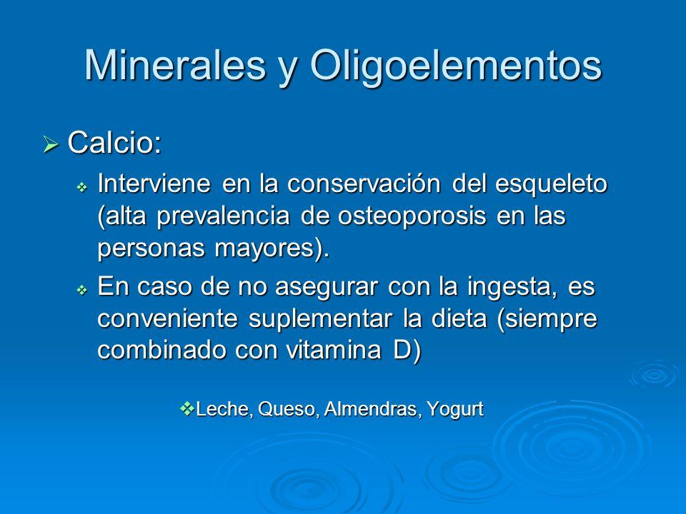 Minerales y Oligoelementos Calcio: Calcio: Interviene en la conservación del esqueleto (alta prevalencia de osteoporosis en las personas mayores). Int