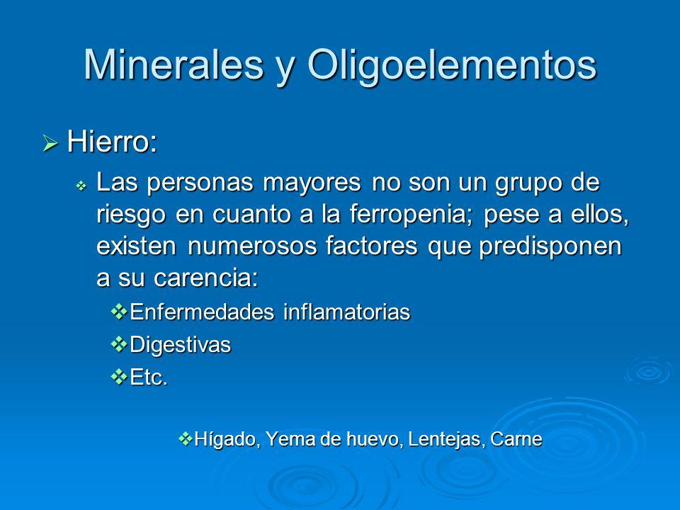 Minerales y Oligoelementos Hierro: Hierro: Las personas mayores no son un grupo de riesgo en cuanto a la ferropenia; pese a ellos, existen numerosos f