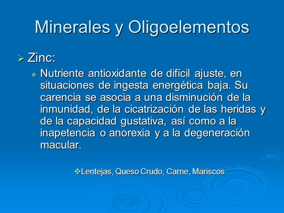 Minerales y Oligoelementos Zinc: Zinc: Nutriente antioxidante de difícil ajuste, en situaciones de ingesta energética baja. Su carencia se asocia a un