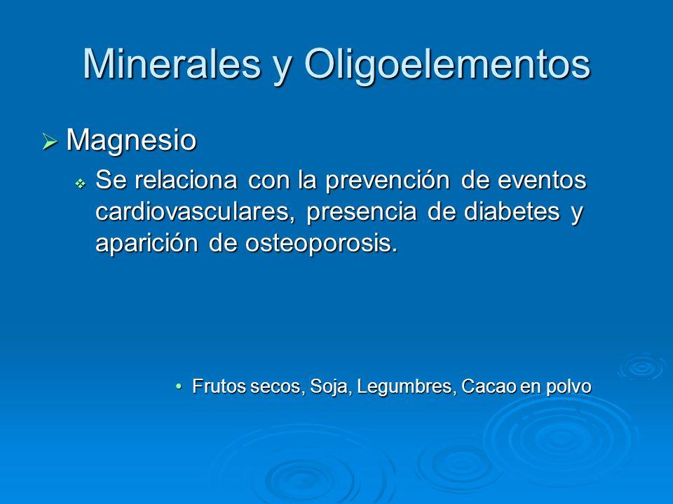 Minerales y Oligoelementos Magnesio Magnesio Se relaciona con la prevención de eventos cardiovasculares, presencia de diabetes y aparición de osteopor