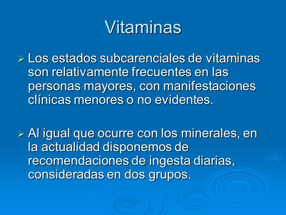 Vitaminas Los estados subcarenciales de vitaminas son relativamente frecuentes en las personas mayores, con manifestaciones clínicas menores o no evid