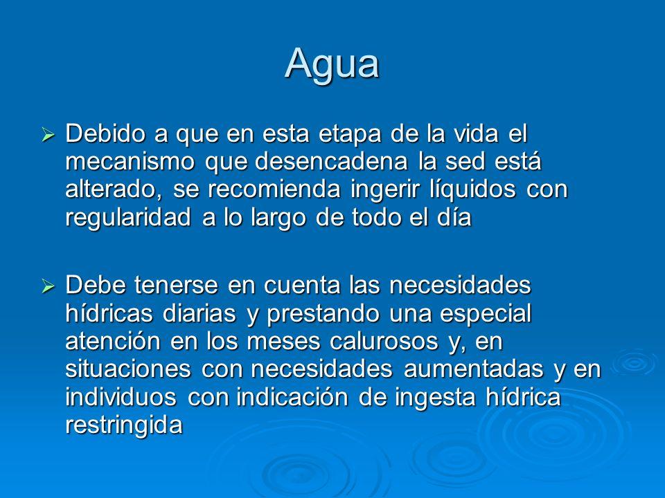 Agua Debido a que en esta etapa de la vida el mecanismo que desencadena la sed está alterado, se recomienda ingerir líquidos con regularidad a lo larg