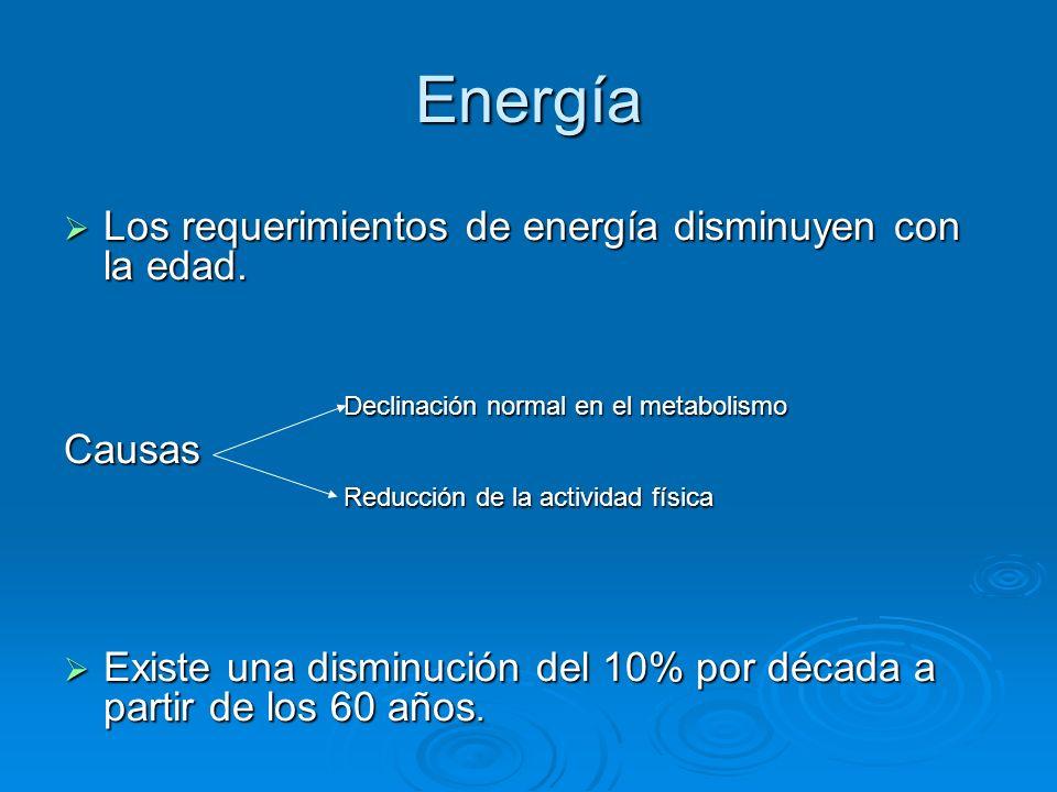 Energía Los requerimientos de energía disminuyen con la edad. Los requerimientos de energía disminuyen con la edad. Declinación normal en el metabolis