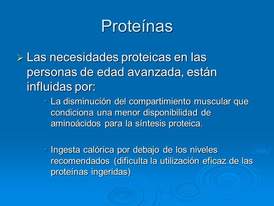 Proteínas Las necesidades proteicas en las personas de edad avanzada, están influidas por: Las necesidades proteicas en las personas de edad avanzada,