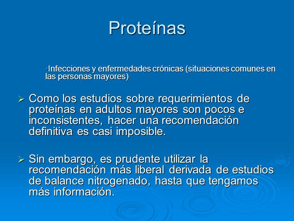 Proteínas Infecciones y enfermedades crónicas (situaciones comunes en las personas mayores)Infecciones y enfermedades crónicas (situaciones comunes en