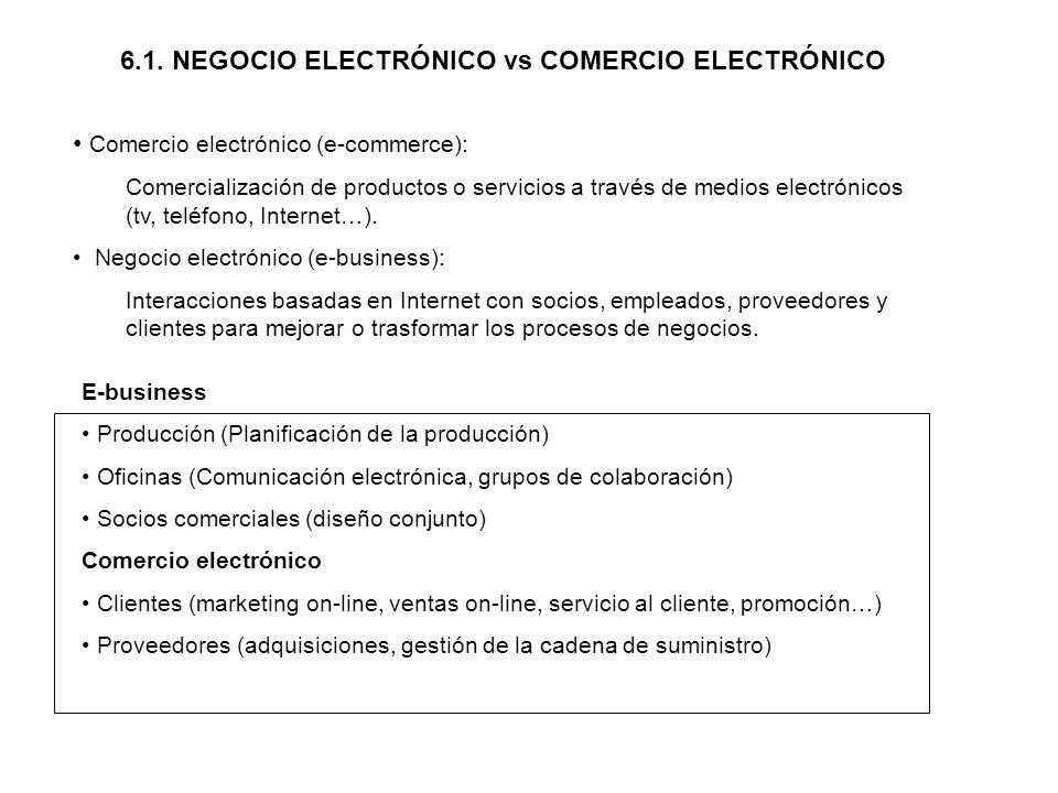 6.1. NEGOCIO ELECTRÓNICO vs COMERCIO ELECTRÓNICO Comercio electrónico (e-commerce): Comercialización de productos o servicios a través de medios elect