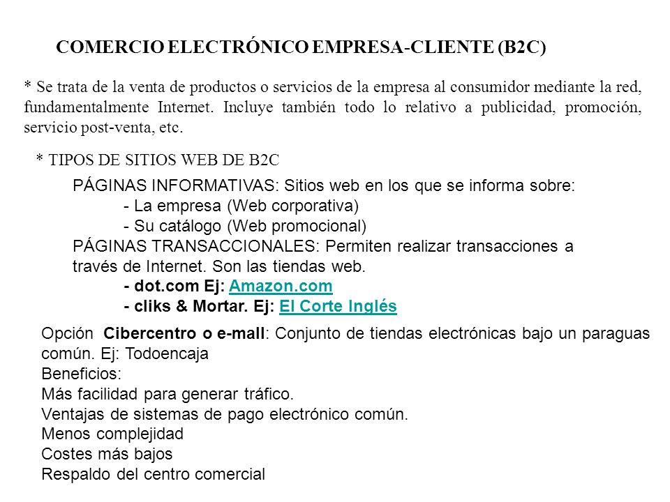COMERCIO ELECTRÓNICO EMPRESA-CLIENTE (B2C) * Se trata de la venta de productos o servicios de la empresa al consumidor mediante la red, fundamentalmen