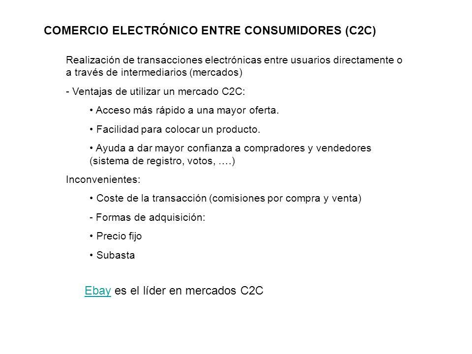 COMERCIO ELECTRÓNICO ENTRE CONSUMIDORES (C2C) Realización de transacciones electrónicas entre usuarios directamente o a través de intermediarios (merc