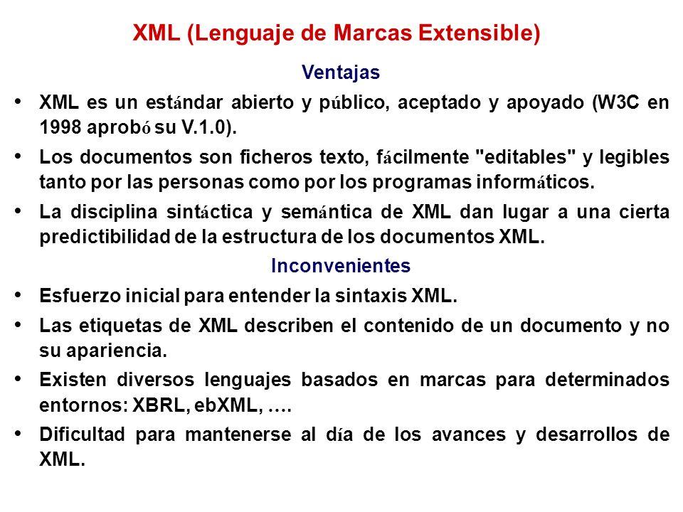 Ventajas XML es un est á ndar abierto y p ú blico, aceptado y apoyado (W3C en 1998 aprob ó su V.1.0). Los documentos son ficheros texto, f á cilmente