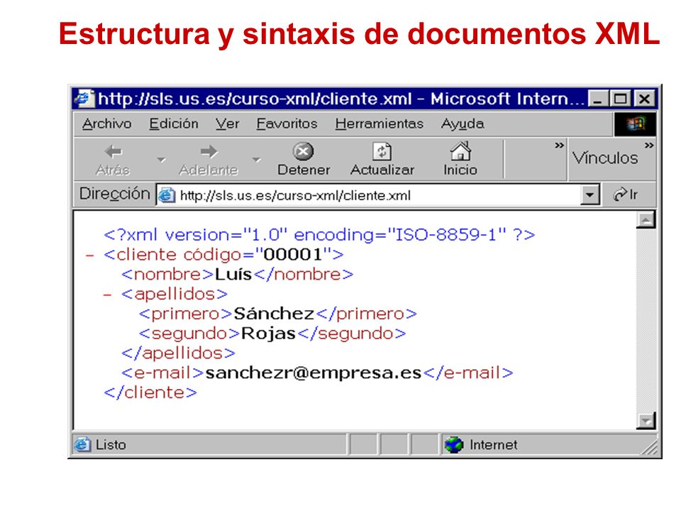 Estructura y sintaxis de documentos XML