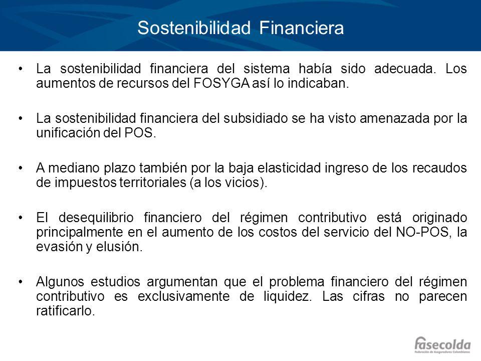 Sostenibilidad Financiera La sostenibilidad financiera del sistema había sido adecuada. Los aumentos de recursos del FOSYGA así lo indicaban. La soste