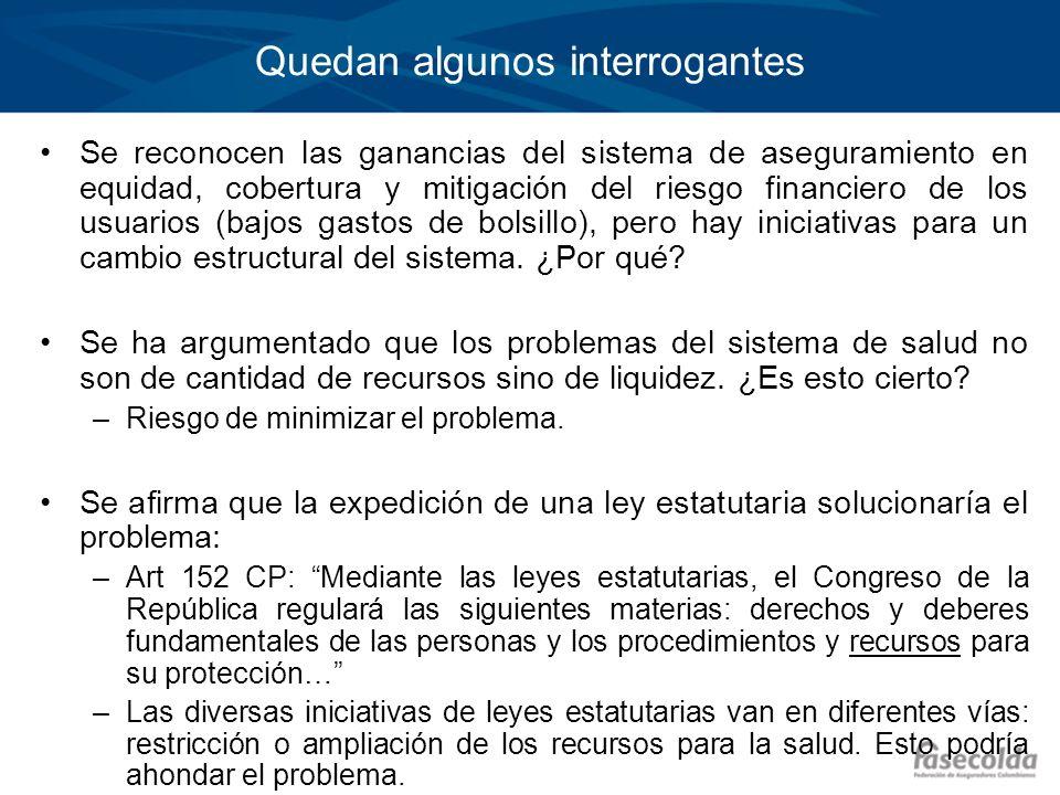 Quedan algunos interrogantes Se reconocen las ganancias del sistema de aseguramiento en equidad, cobertura y mitigación del riesgo financiero de los u