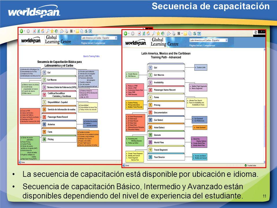 11 La secuencia de capacitación está disponible por ubicación e idioma. Secuencia de capacitación Secuencia de capacitación Básico, Intermedio y Avanz