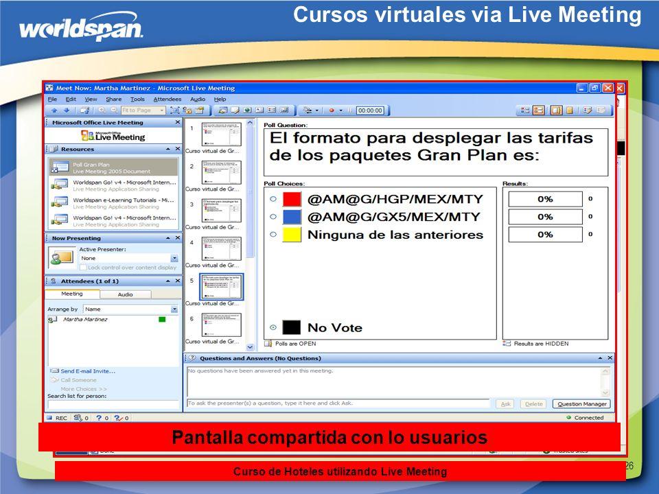 26 Cursos virtuales via Live Meeting Curso de Hoteles utilizando Live Meeting Pantalla compartida con lo usuarios