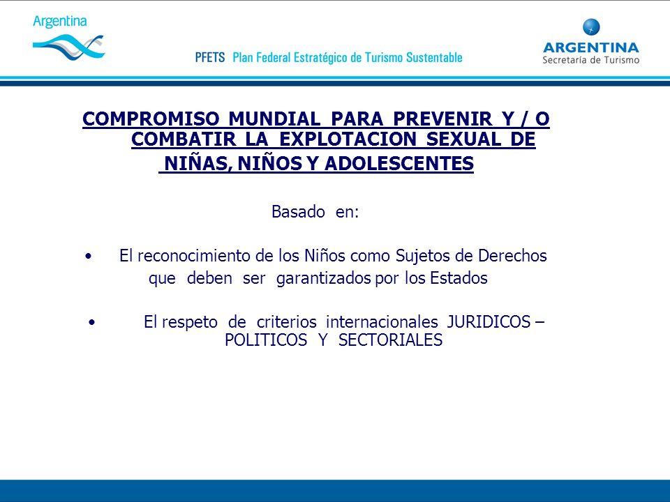 COMPROMISO MUNDIAL PARA PREVENIR Y / O COMBATIR LA EXPLOTACION SEXUAL DE NIÑAS, NIÑOS Y ADOLESCENTES Basado en: El reconocimiento de los Niños como Su