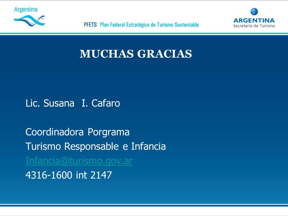 MUCHAS GRACIAS Lic. Susana I. Cafaro Coordinadora Porgrama Turismo Responsable e Infancia Infancia@turismo.gov.ar 4316-1600 int 2147