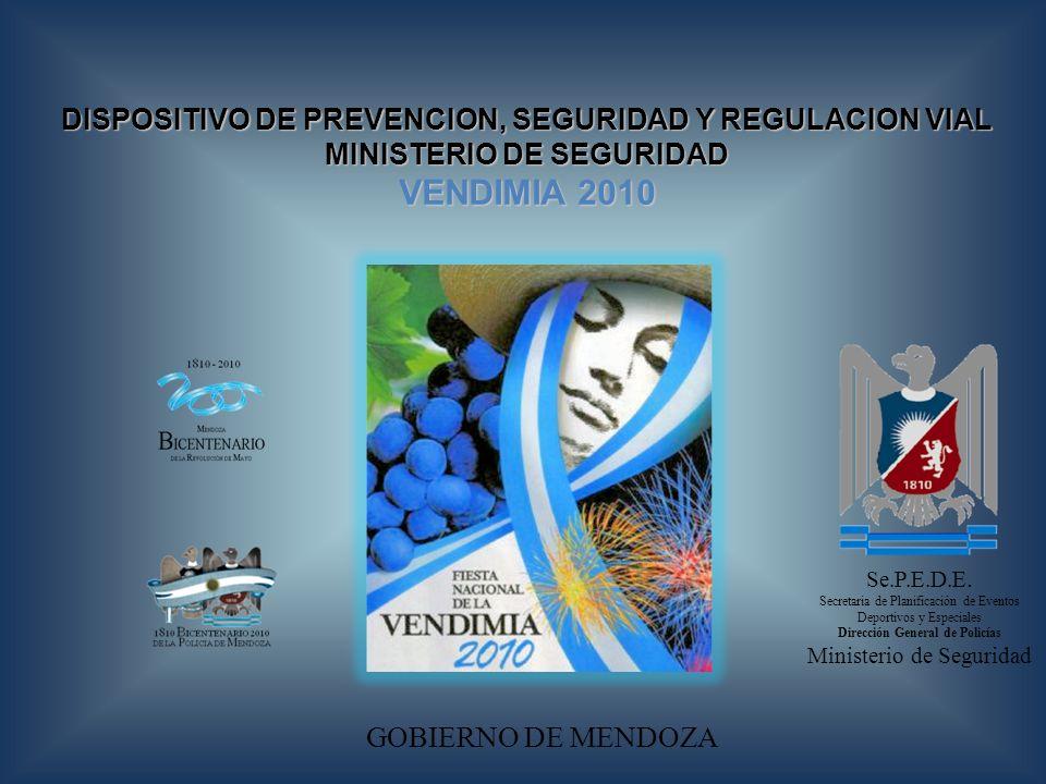 GOBIERNO DE MENDOZA Se.P.E.D.E. Secretaria de Planificación de Eventos Deportivos y Especiales Dirección General de Policías Ministerio de Seguridad D