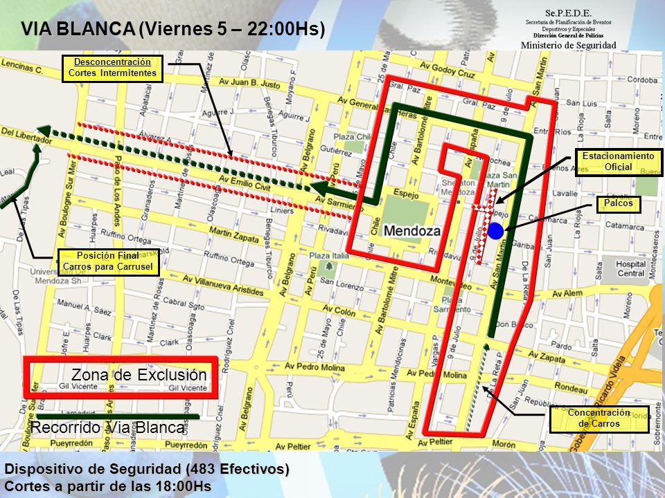 VIA BLANCA VIA BLANCA (Viernes 5 – 22:00Hs) Dispositivo de Seguridad (483 Efectivos) Cortes a partir de las 18:00Hs Concentración de Carros Zona de Ex