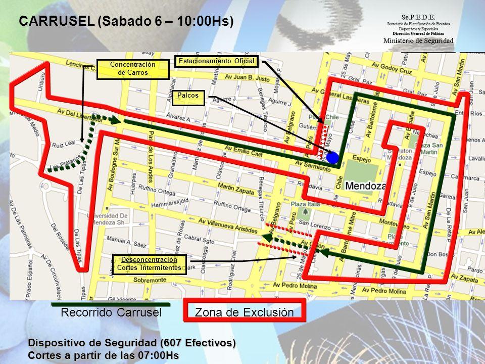 CARRUSEL CARRUSEL (Sabado 6 – 10:00Hs) Dispositivo de Seguridad (607 Efectivos) Cortes a partir de las 07:00Hs Estacionamiento Oficial Palcos Concentr