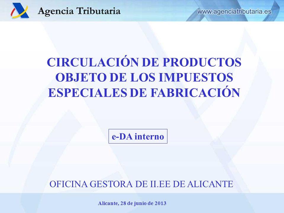 CIRCULACIÓN DE PRODUCTOS OBJETO DE LOS IMPUESTOS ESPECIALES DE FABRICACIÓN Alicante, 28 de junio de 2013 OFICINA GESTORA DE II.EE DE ALICANTE e-DA int