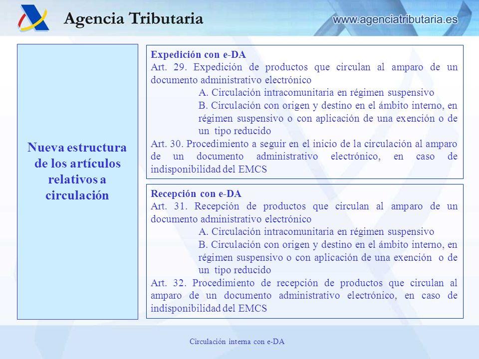 Nueva estructura de los artículos relativos a circulación Expedición con e-DA Art. 29. Expedición de productos que circulan al amparo de un documento