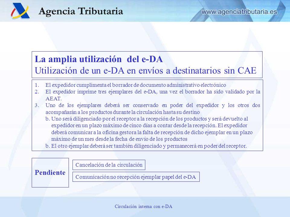 La amplia utilización del e-DA Utilización de un e-DA en envíos a destinatarios sin CAE 1.El expedidor cumplimenta el borrador de documento administra
