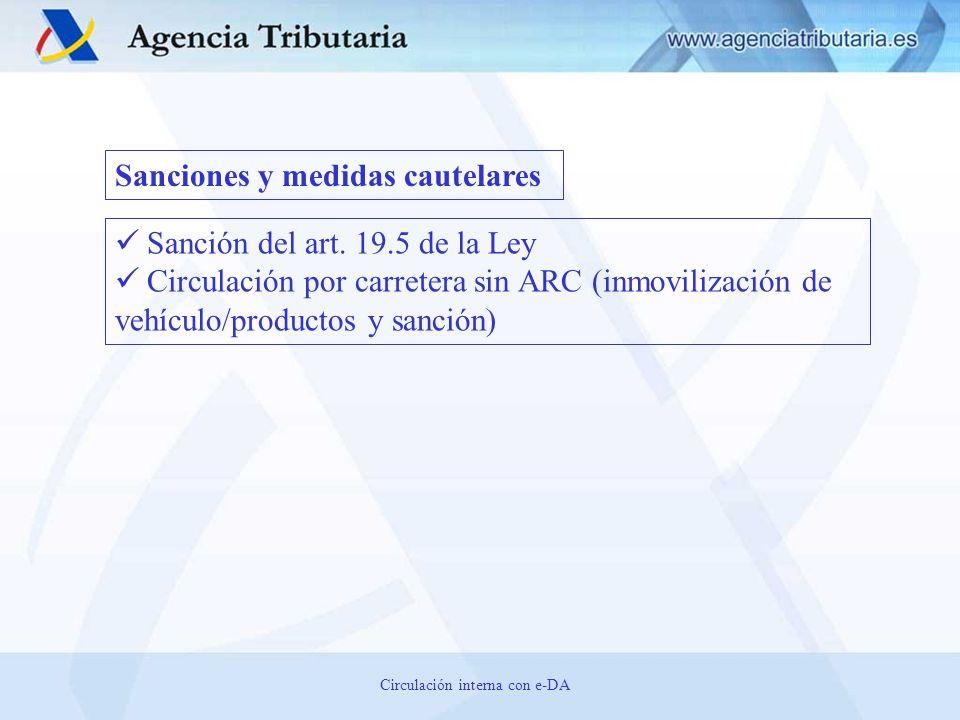 Sanción del art. 19.5 de la Ley Circulación por carretera sin ARC (inmovilización de vehículo/productos y sanción) Sanciones y medidas cautelares Circ