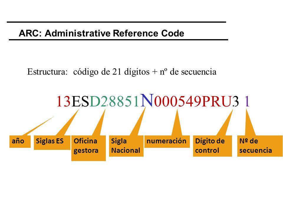 Estructura: código de 21 dígitos + nº de secuencia 13ESD28851 N 000549PRU3 1 ARC: Administrative Reference Code año Siglas ES Oficina gestora numeraci