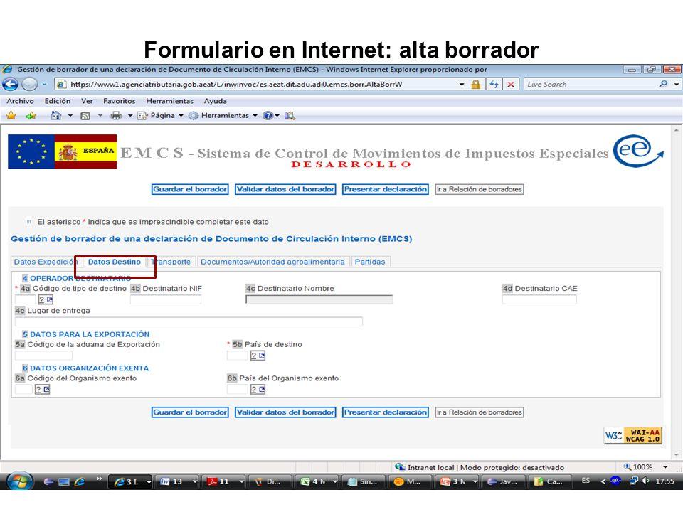 Formulario en Internet: alta borrador