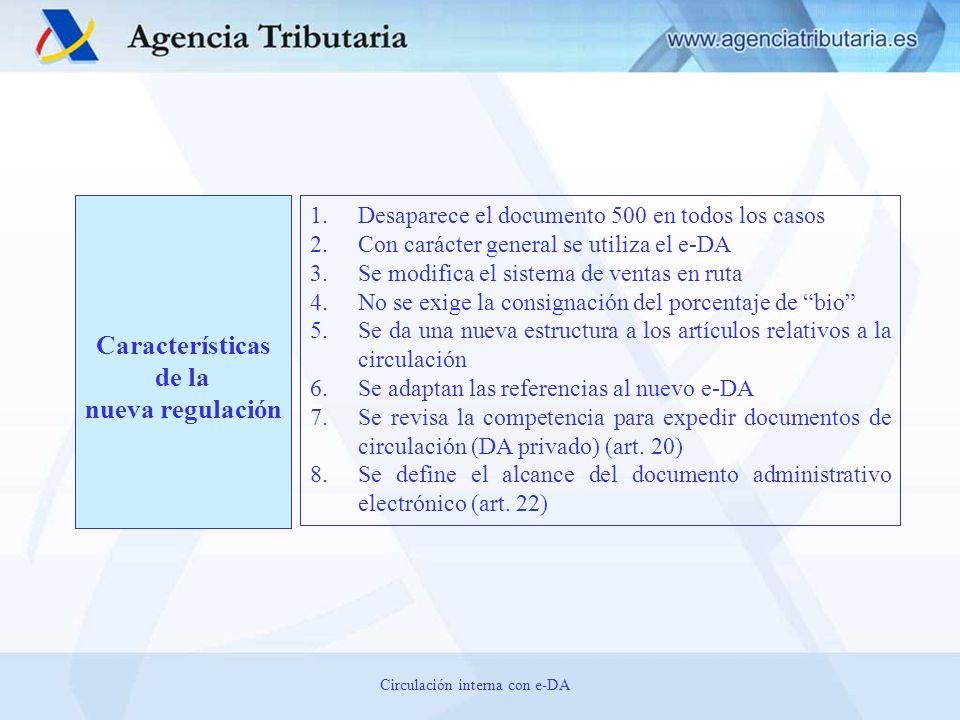 CIRCULACIÓN A partir del 1 de julio de 2013 1.Desaparece el documento de acompañamiento en soporte papel 2.Se utiliza el e-DA para amparar las siguientes modalidades de circulación a.