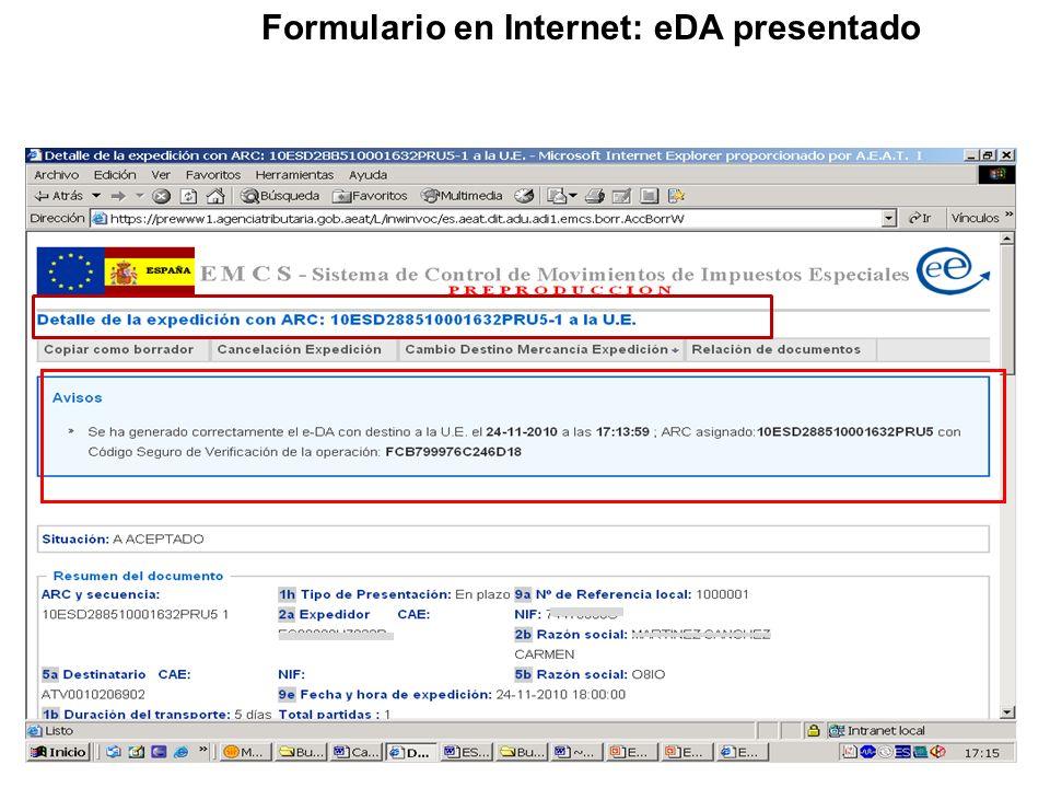 Formulario en Internet: eDA presentado