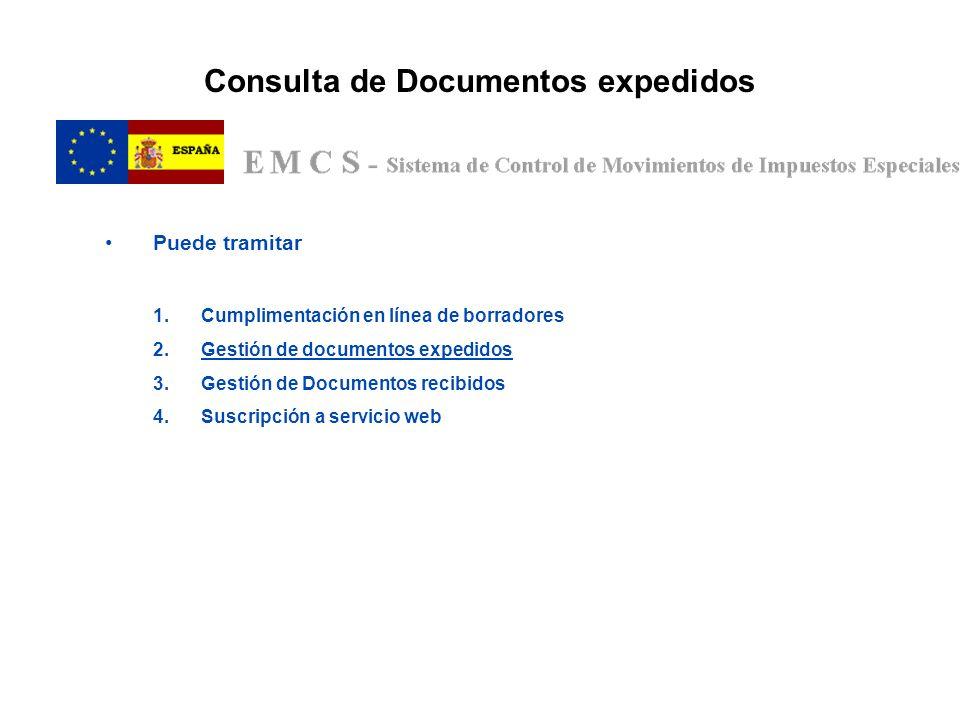 Consulta de Documentos expedidos Puede tramitar 1.Cumplimentación en línea de borradores 2.Gestión de documentos expedidos 3.Gestión de Documentos rec