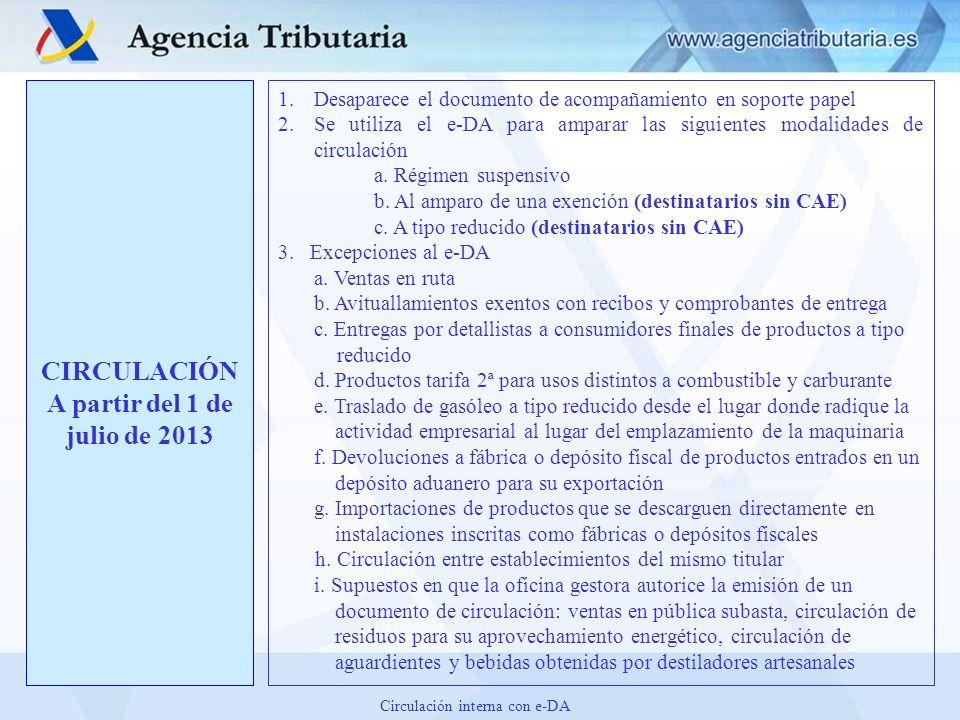 CIRCULACIÓN A partir del 1 de julio de 2013 1.Desaparece el documento de acompañamiento en soporte papel 2.Se utiliza el e-DA para amparar las siguien