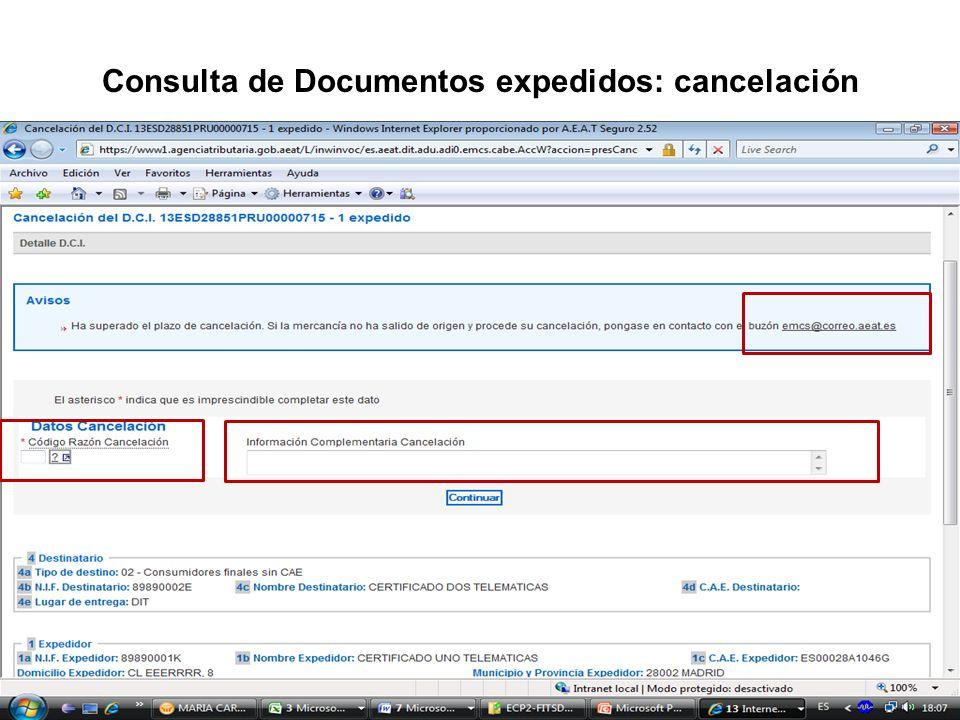 Consulta de Documentos expedidos: cancelación