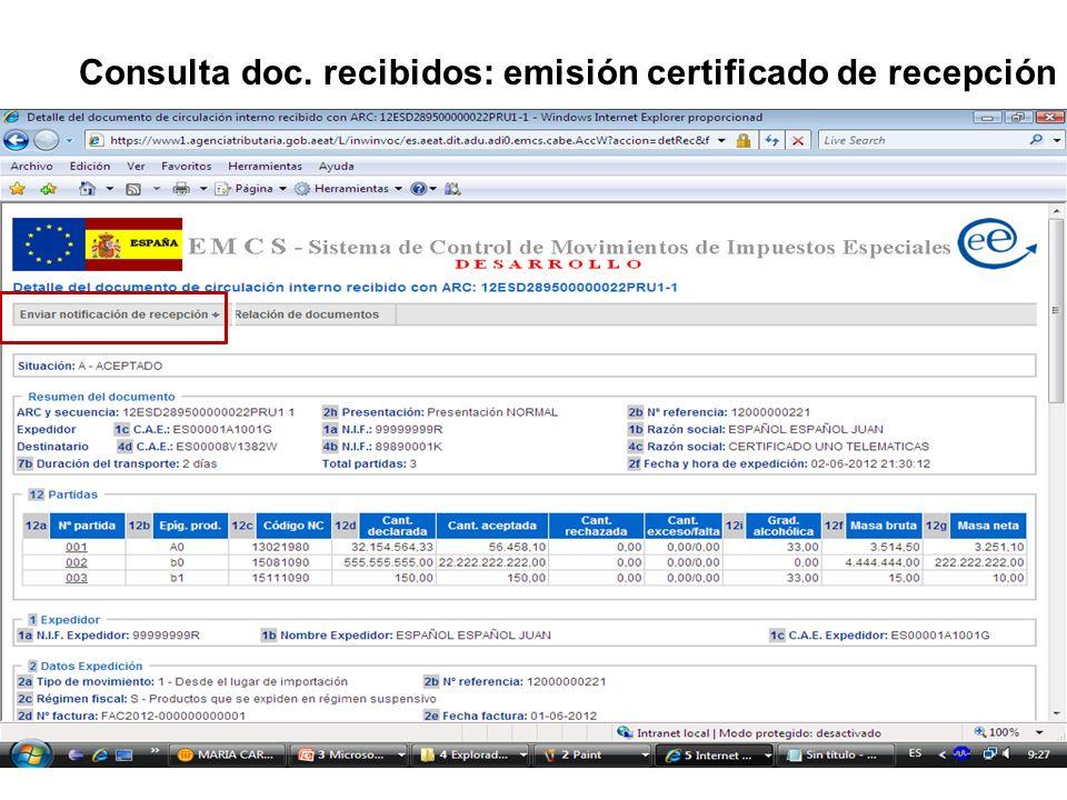 Consulta doc. recibidos: emisión certificado de recepción