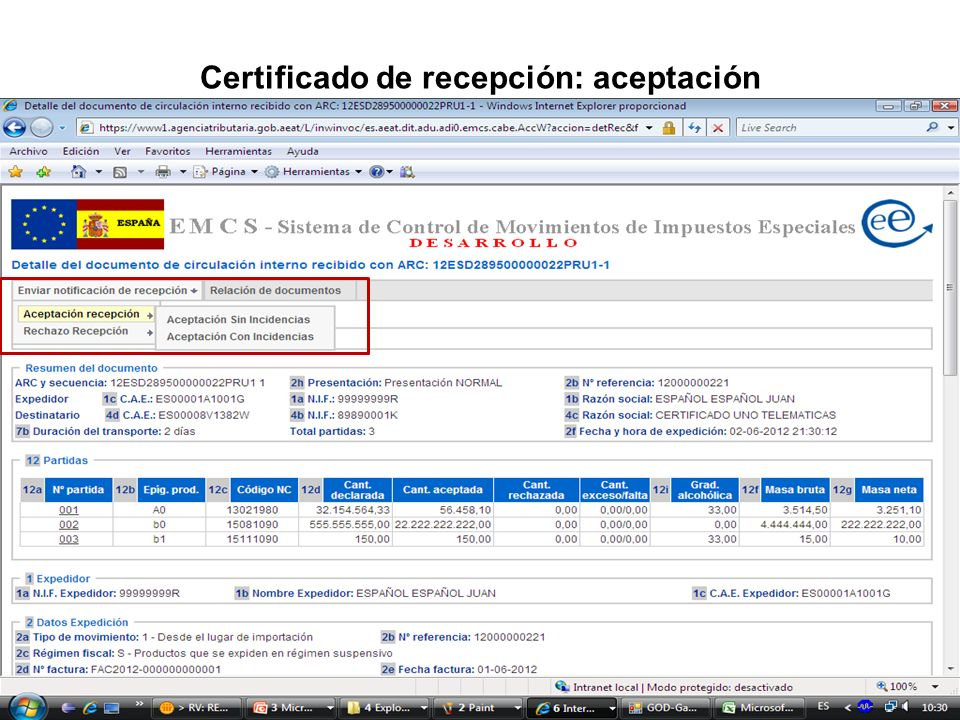 Certificado de recepción: aceptación
