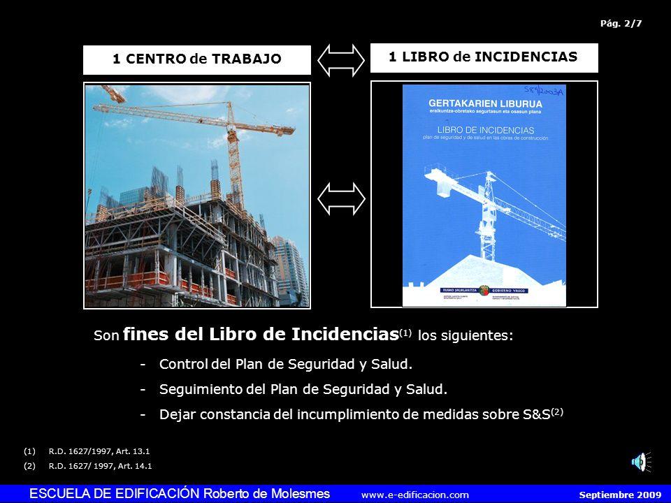 ESCUELA DE EDIFICACIÓN Roberto de Molesmes www.e-edificacion.com Septiembre 2009 Son fines del Libro de Incidencias (1) los siguientes: -Control del Plan de Seguridad y Salud.
