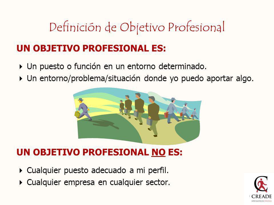 UN OBJETIVO PROFESIONAL ES: Un puesto o función en un entorno determinado. Un entorno/problema/situación donde yo puedo aportar algo. UN OBJETIVO PROF