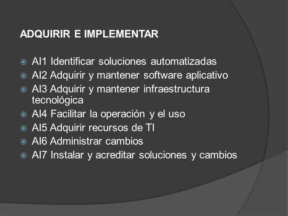 ADQUIRIR E IMPLEMENTAR AI1 Identificar soluciones automatizadas AI2 Adquirir y mantener software aplicativo AI3 Adquirir y mantener infraestructura te