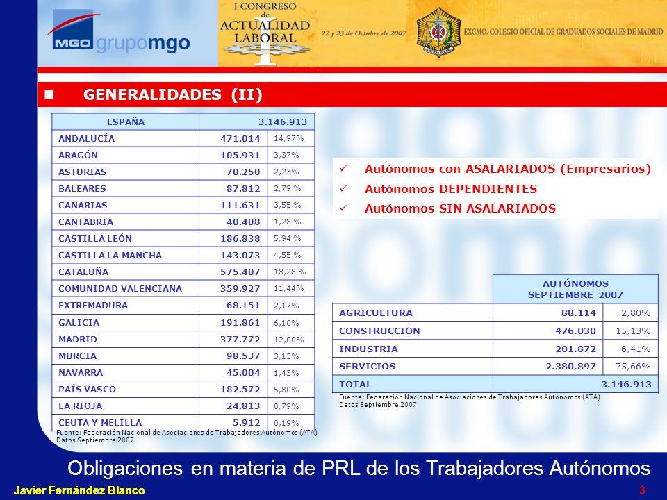 Obligaciones en materia de PRL de los Trabajadores Autónomos Javier Fernández Blanco 3 3 GENERALIDADES (II) Autónomos con ASALARIADOS (Empresarios) Autónomos DEPENDIENTES Autónomos SIN ASALARIADOS ESPAÑA3.146.913 ANDALUCÍA471.014 14,97% ARAGÓN105.931 3,37% ASTURIAS70.250 2,23% BALEARES87.812 2,79 % CANARIAS111.631 3,55 % CANTABRIA40.408 1,28 % CASTILLA LEÓN186.838 5,94 % CASTILLA LA MANCHA143.073 4,55 % CATALUÑA575.407 18,28 % COMUNIDAD VALENCIANA359.927 11,44% EXTREMADURA 68.151 2,17% GALICIA191.861 6,10% MADRID377.772 12,00% MURCIA98.537 3,13% NAVARRA45.004 1,43% PAÍS VASCO182.572 5,80% LA RIOJA24.813 0,79% CEUTA Y MELILLA5.912 0,19% AUTÓNOMOS SEPTIEMBRE 2007 AGRICULTURA88.1142,80% CONSTRUCCIÓN476.03015,13% INDUSTRIA201.8726,41% SERVICIOS2.380.89775,66% TOTAL3.146.913 Fuente: Federación Nacional de Asociaciones de Trabajadores Autónomos (ATA) Datos Septiembre 2007 Fuente: Federación Nacional de Asociaciones de Trabajadores Autónomos (ATA) Datos Septiembre 2007